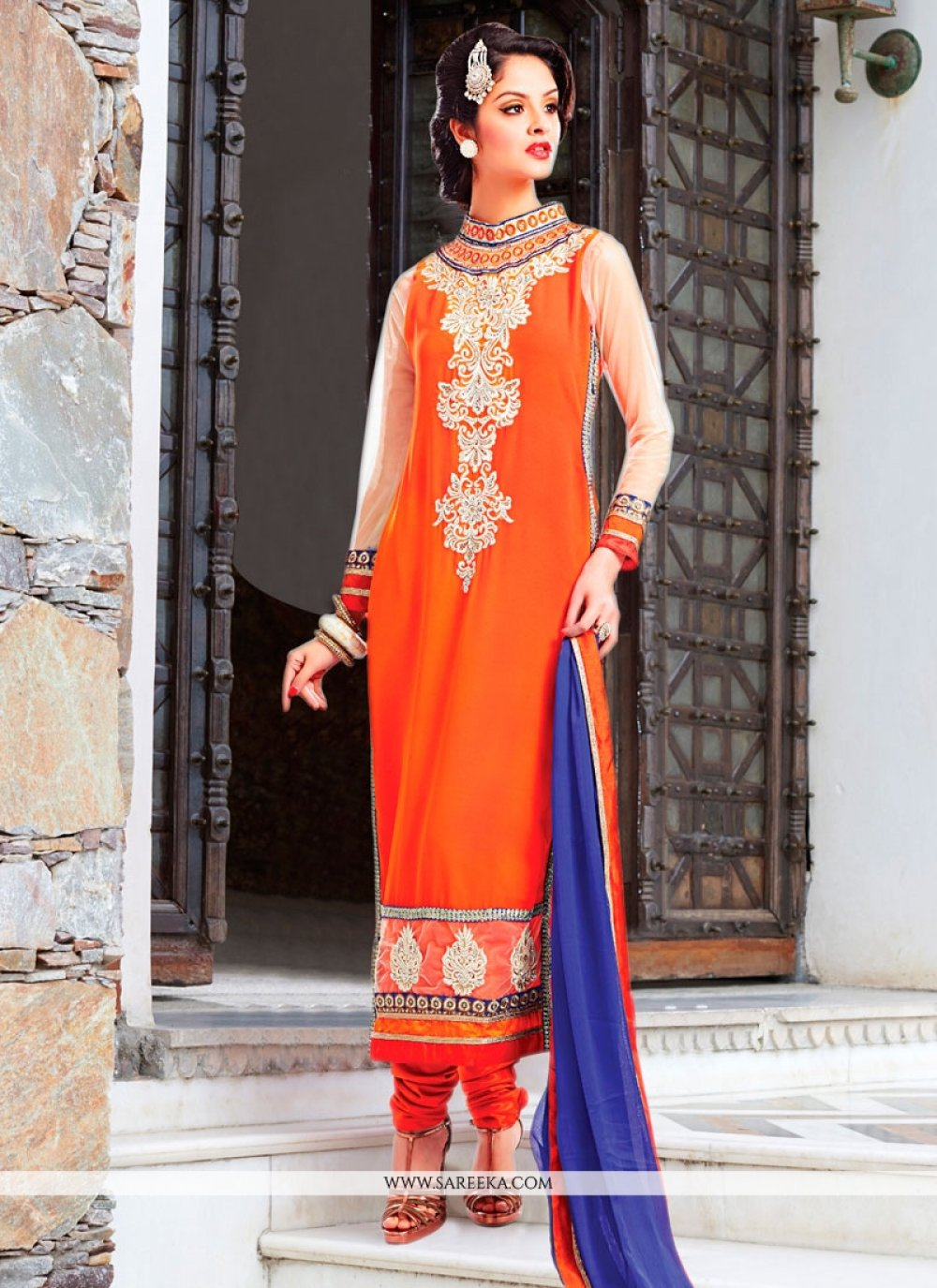 Georgette Orange Resham Work Churidar Designer Suit