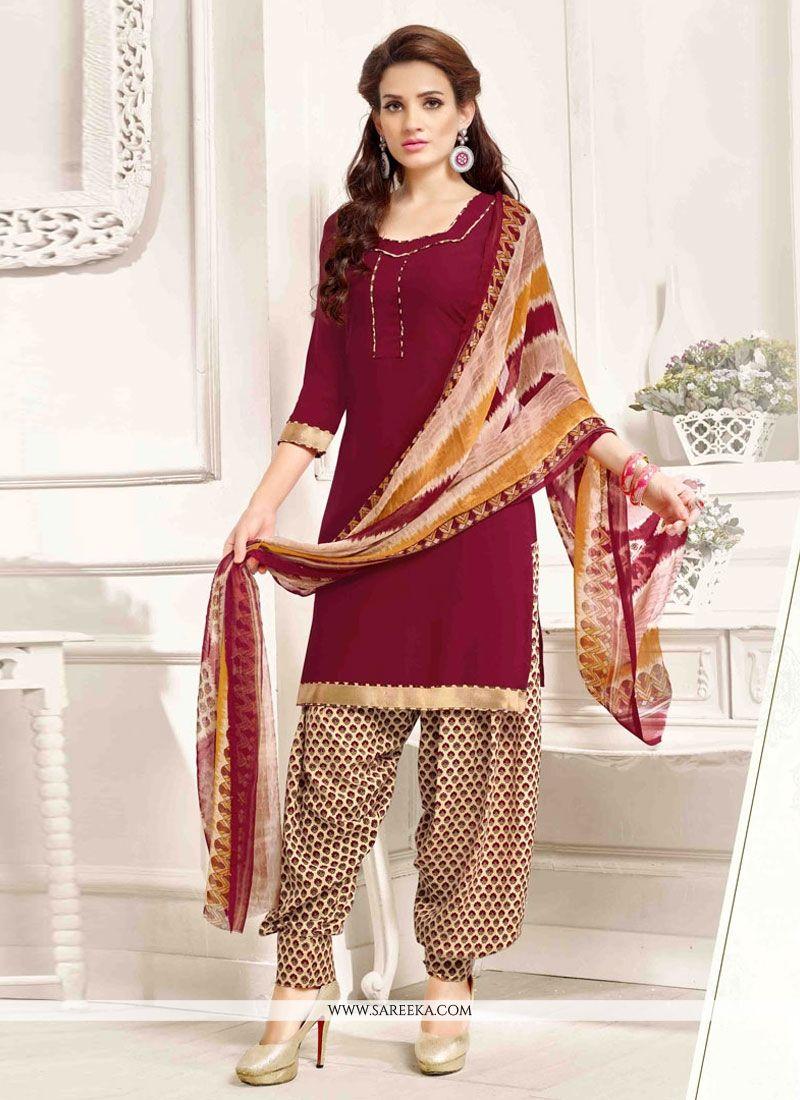 59d4f7b13 Buy Pure Crepe Maroon Designer Patila Salwar Suit Online   Italy -