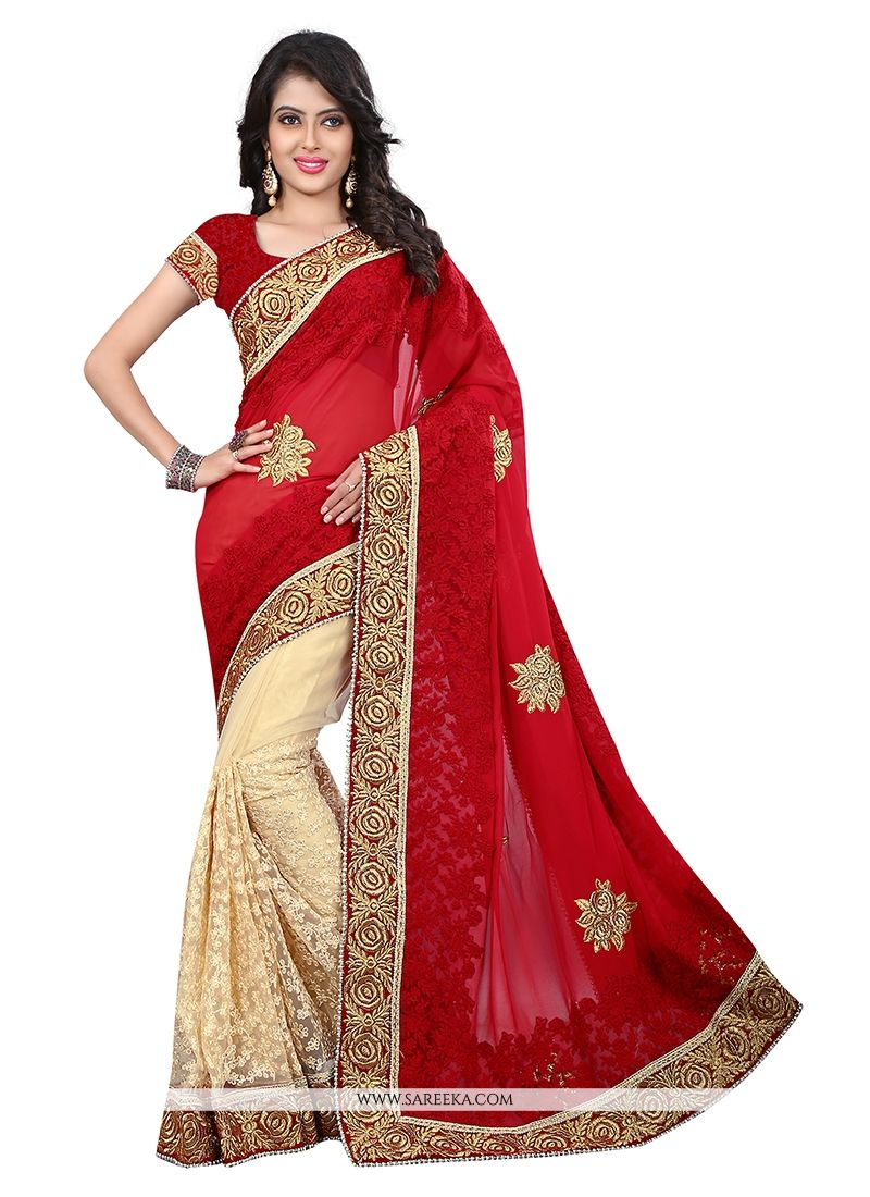 2c2edc8e1a0a14 Buy Embroidered Work Net Designer Saree Online : Indian Ethnic Wear -