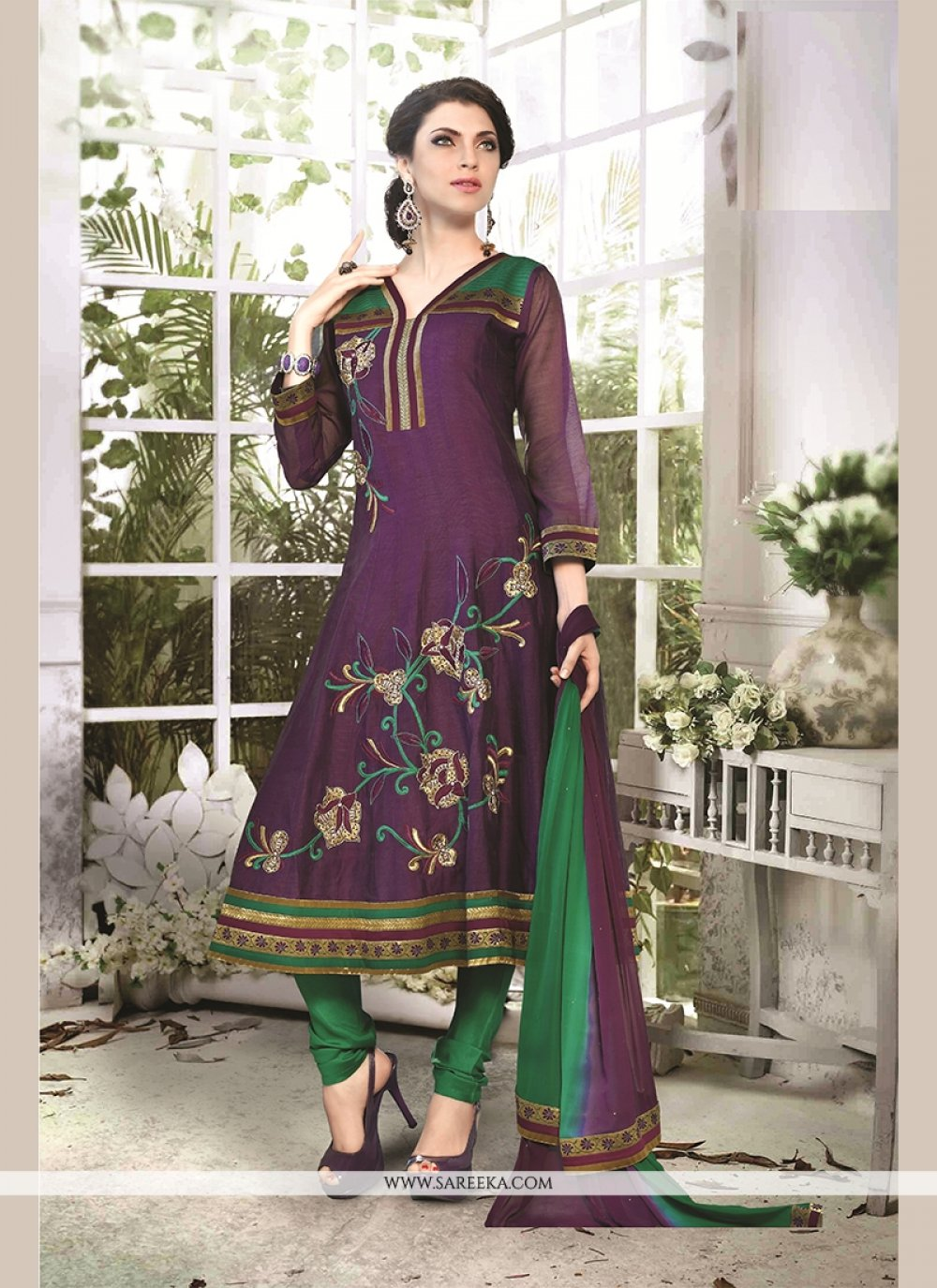 Chanderi Cotton Embroidered Work Readymade Suit