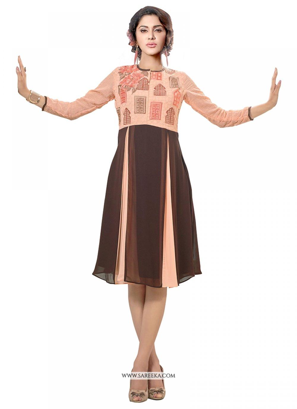 Print Work Brown Georgette Party Wear Kurti