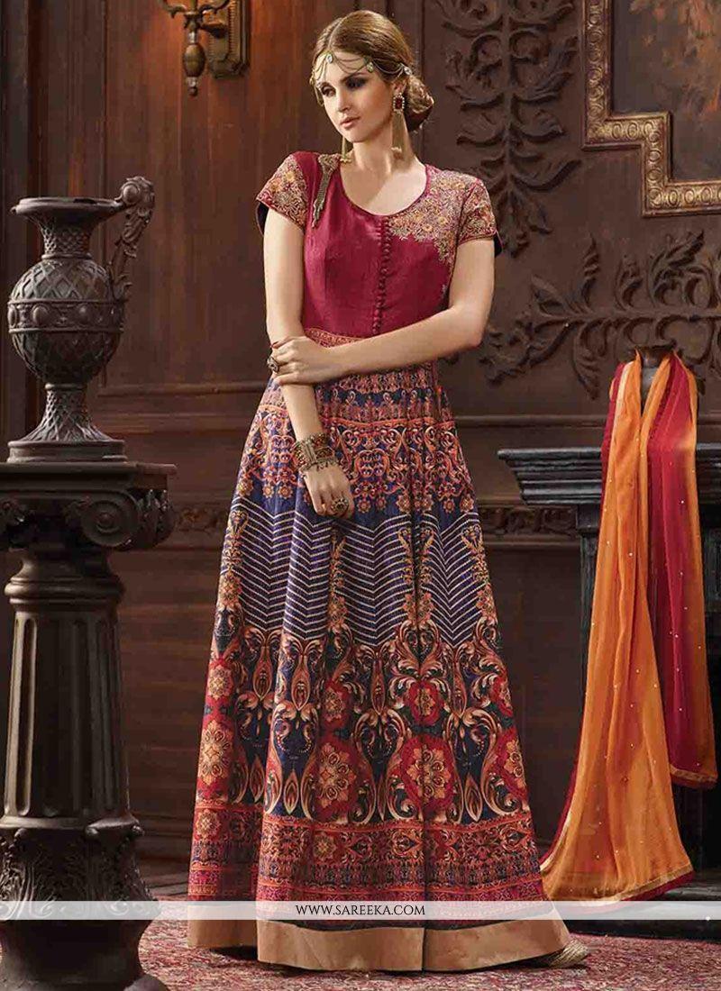 496ae2e543 Buy Bhagalpuri Silk Anarkali Salwar Kameez Online : Fiji -