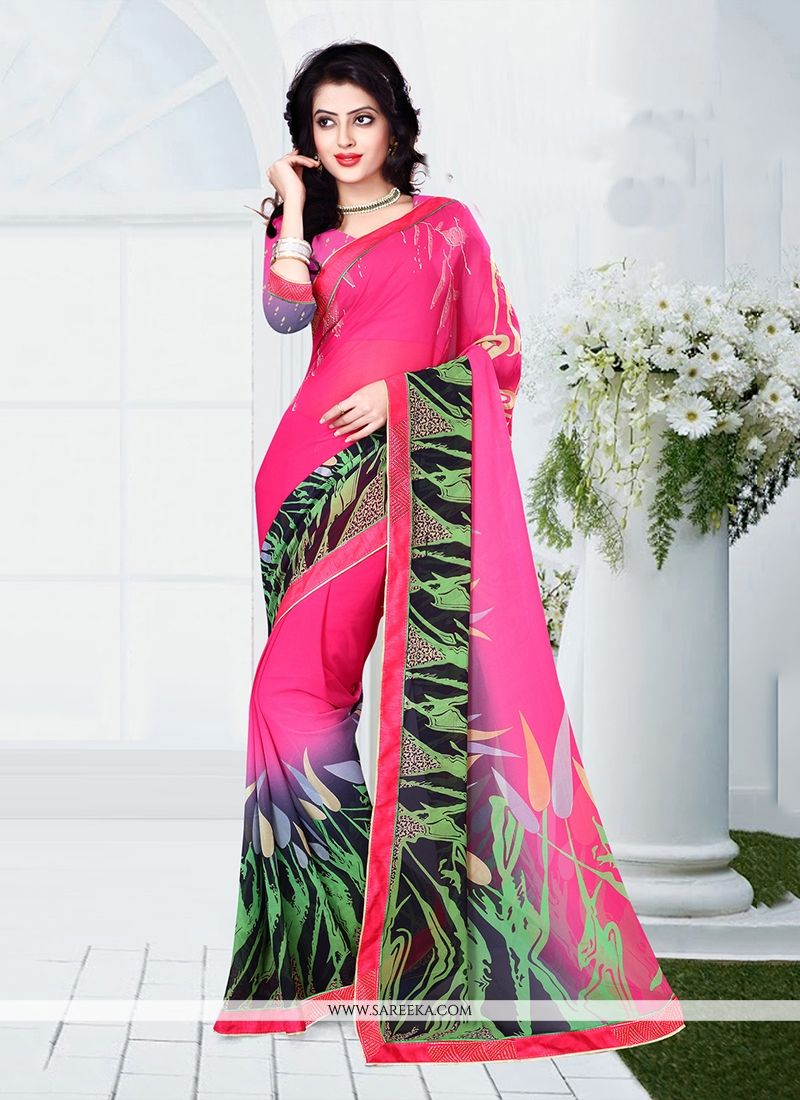 Hot Pink Casual Saree