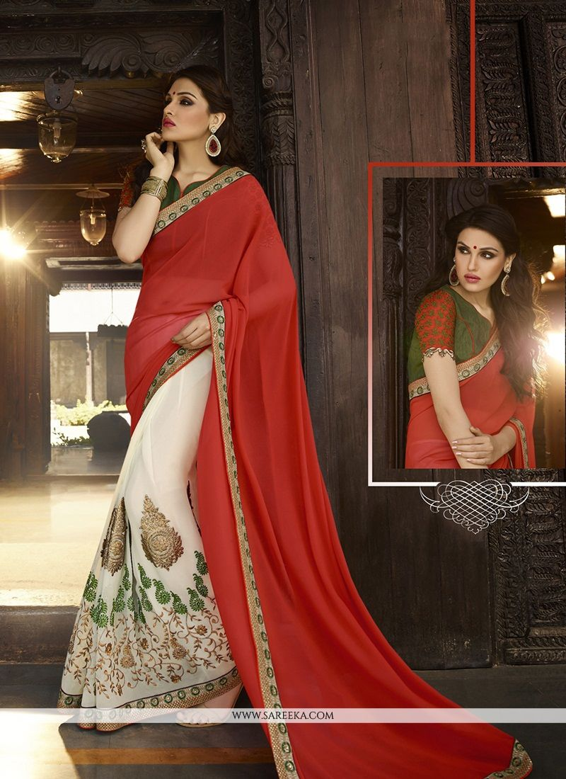 Jacquard Red Embroidered Work Designer Saree