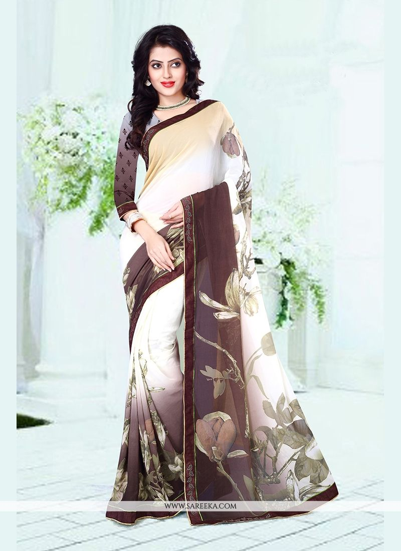 Brown and Off White Print Work Casual Saree
