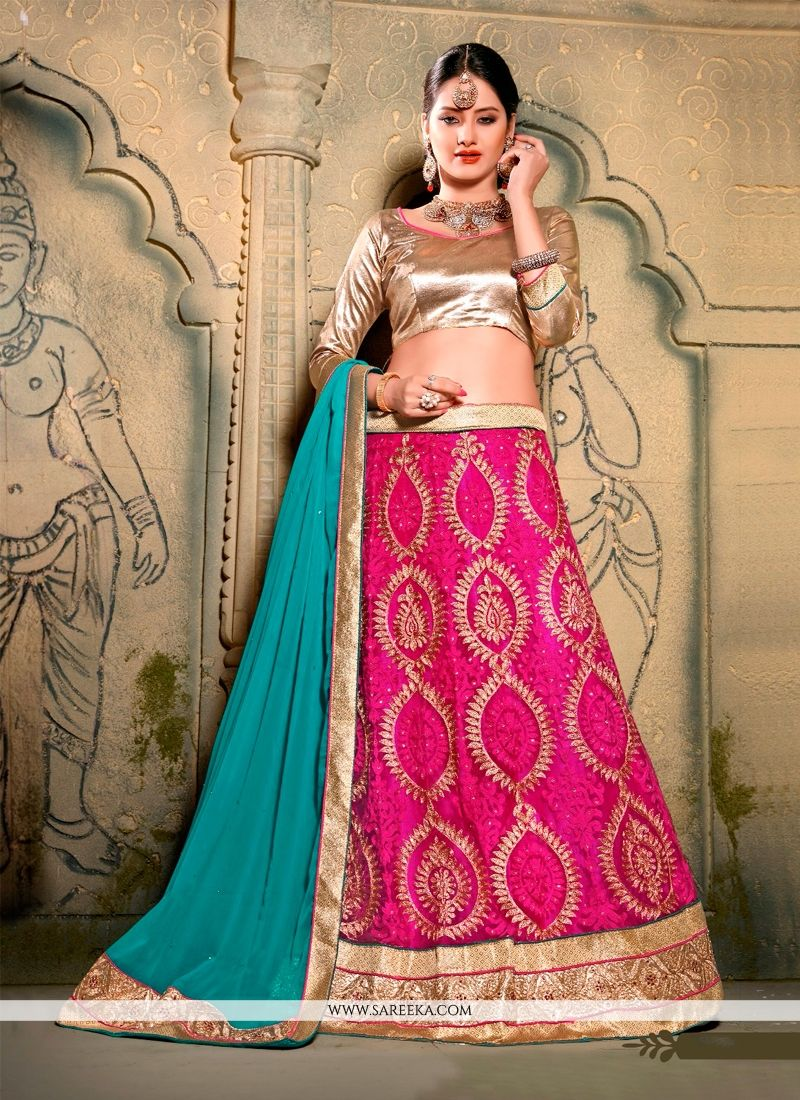 Hot Pink Embroidered Work A Line Lehenga Choli