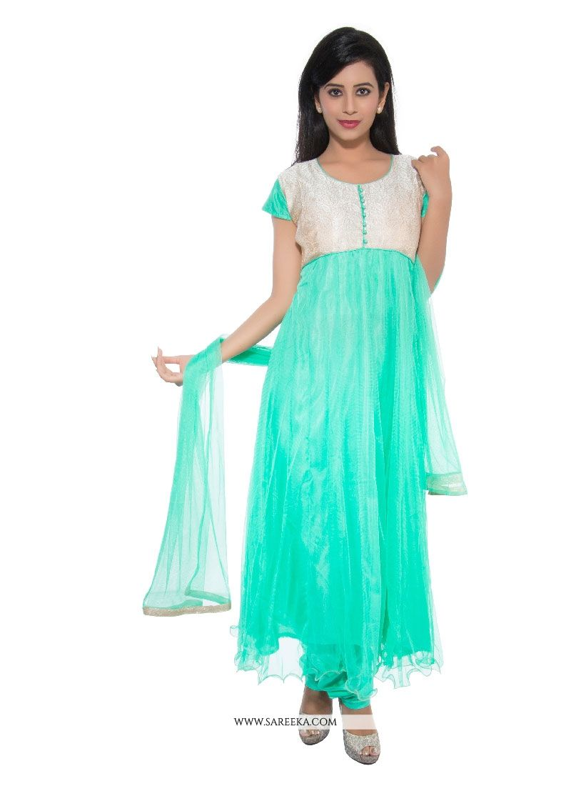 Net Turquoise Churidar Designer Suit