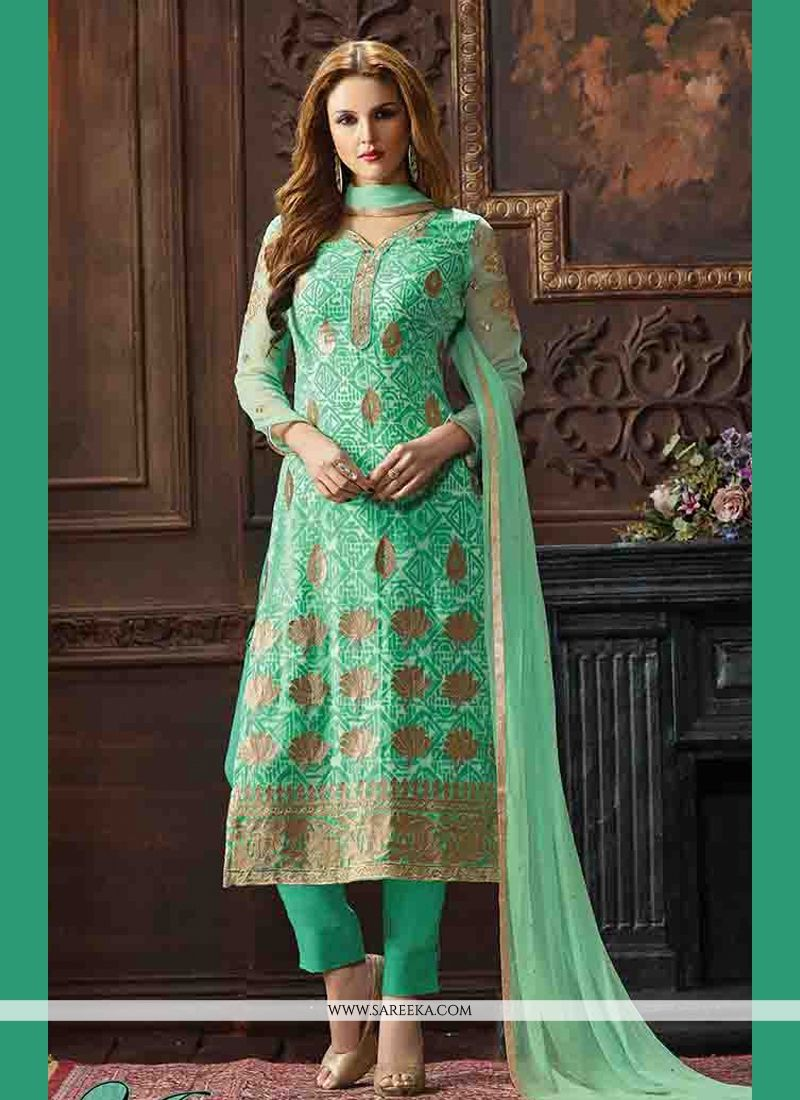 Buy Arresting Print Work Sea Green Georgette Pant Style Suit ...