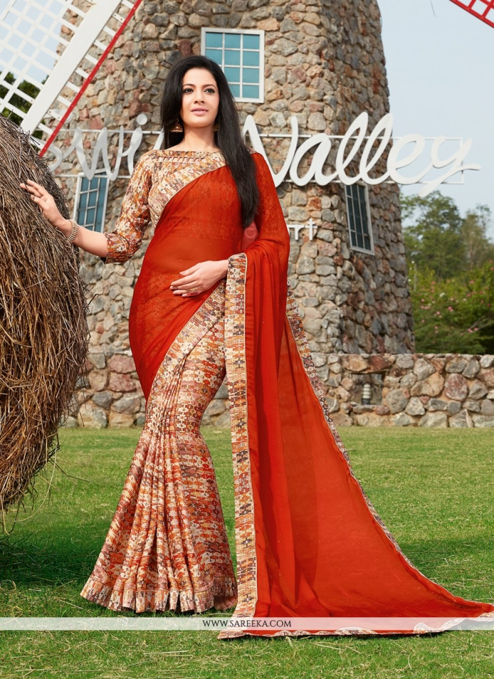 Red Print Work Georgette Printed Saree