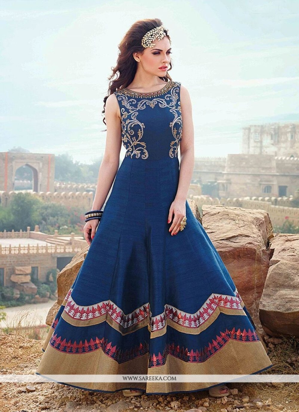 Art Silk Navy Blue Resham Work Designer Gown
