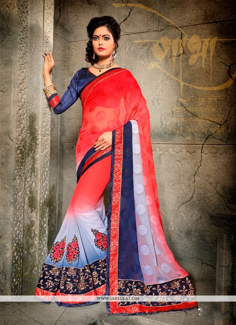 Embroidered Work Navy Blue and Red Designer Half N Half saree