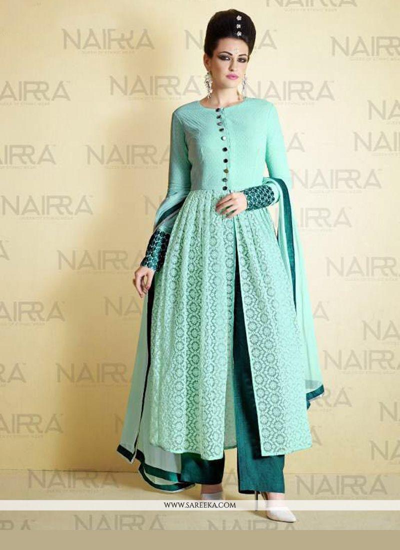 Lace Work Turquoise Net Designer Suit -