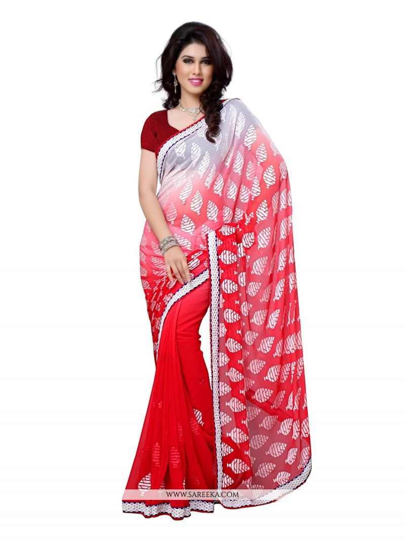 Brasso Red Designer Saree
