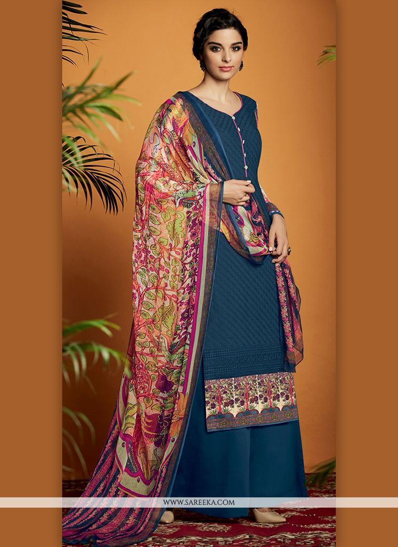 Digital Print Work Navy Blue Cotton Satin Designer Suit