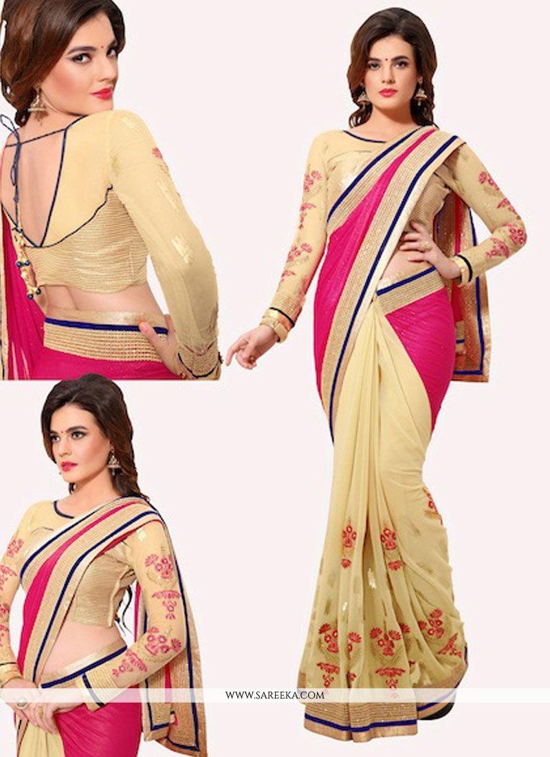 Lycra Cream and Pink Designer Half N Half saree