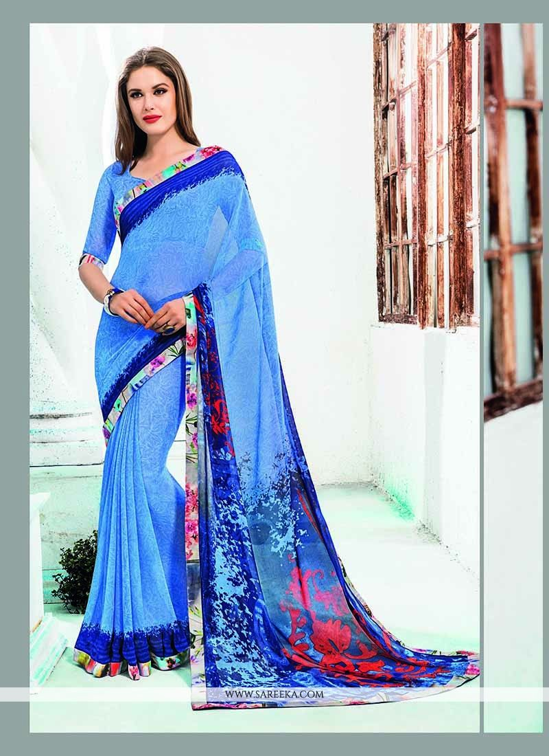 Blue Patch Border Work Georgette Casual Saree
