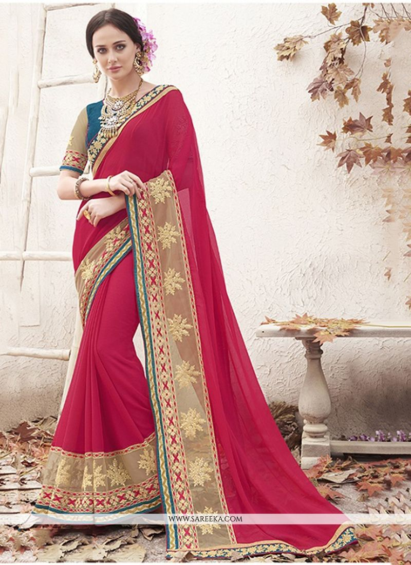 Faux Chiffon Maroon Patch Border Work Designer Saree