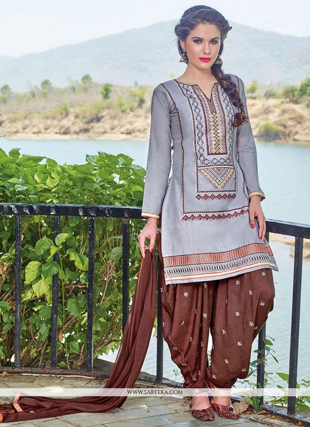 Grey Embroidered Work Cotton   Designer Patiala Salwar Kameez