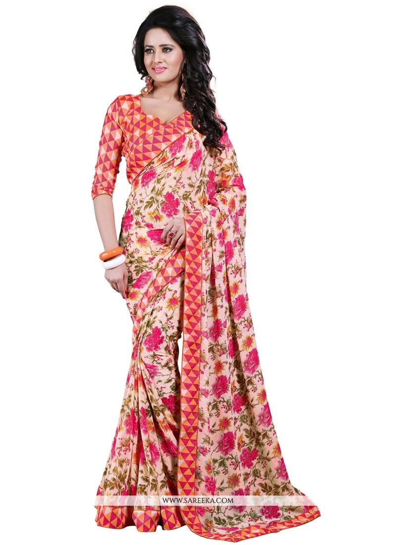 Multi Colour Patch Border Work Casual Saree