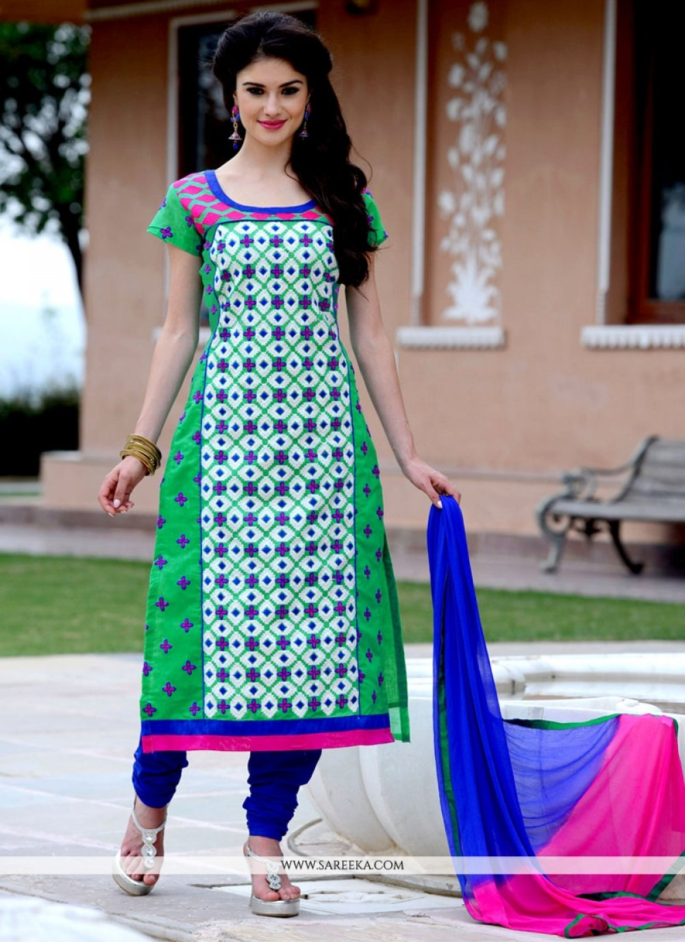 Chanderi Cotton Churidar Designer Suit