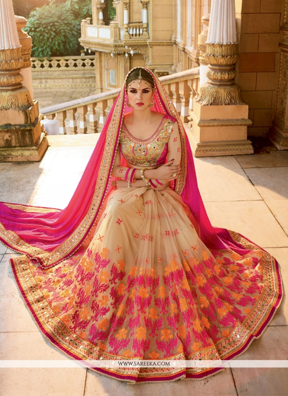 Embroidered Work Beige and Hot Pink Designer Half N Half saree