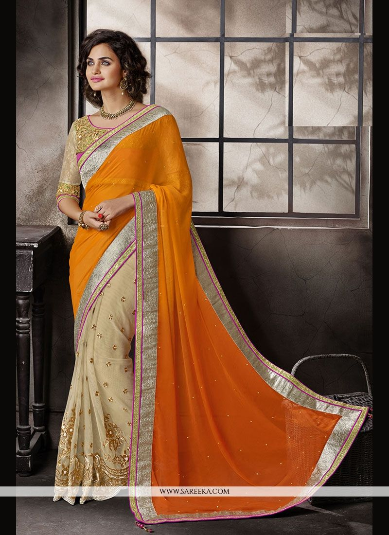 Embroidered Work Faux Chiffon Classic Designer Saree