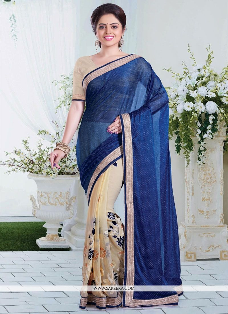 Patch Border Work Beige and Blue Designer Saree
