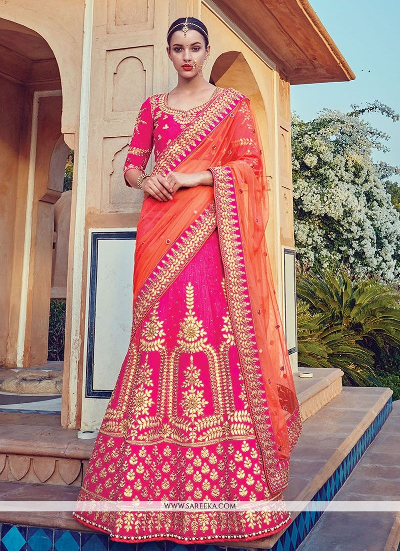 7d40c75668c Buy Raw Silk Hot Pink Embroidered Work A Line Lehenga Choli Online    Australia -