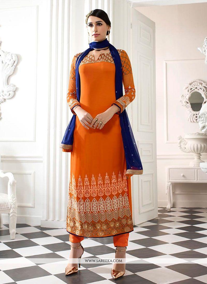 Orange Patch Border Work Georgette Designer Straight Salwar Kameez