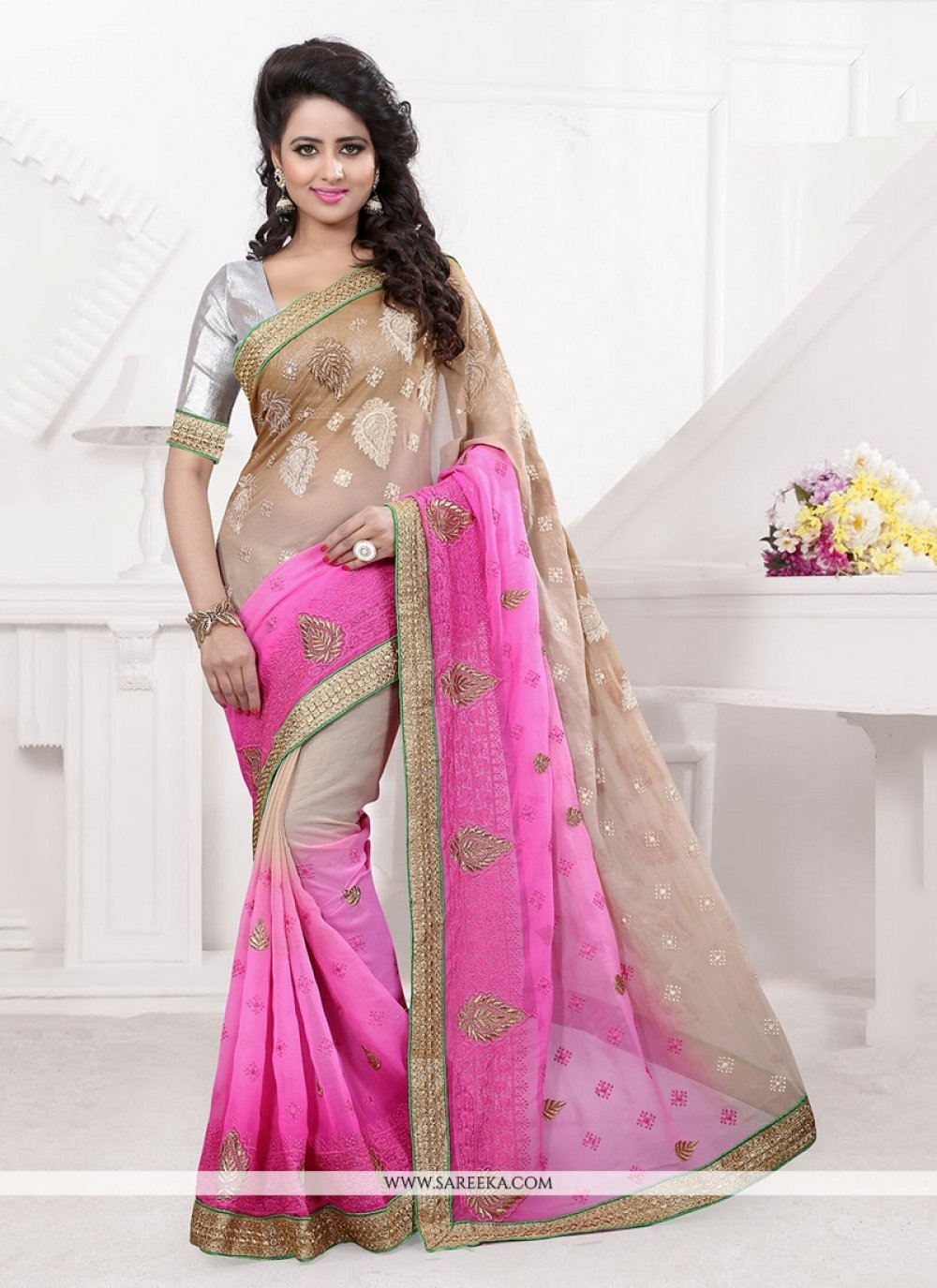 Pink Patch Border Work Faux Chiffon Classic Designer Saree