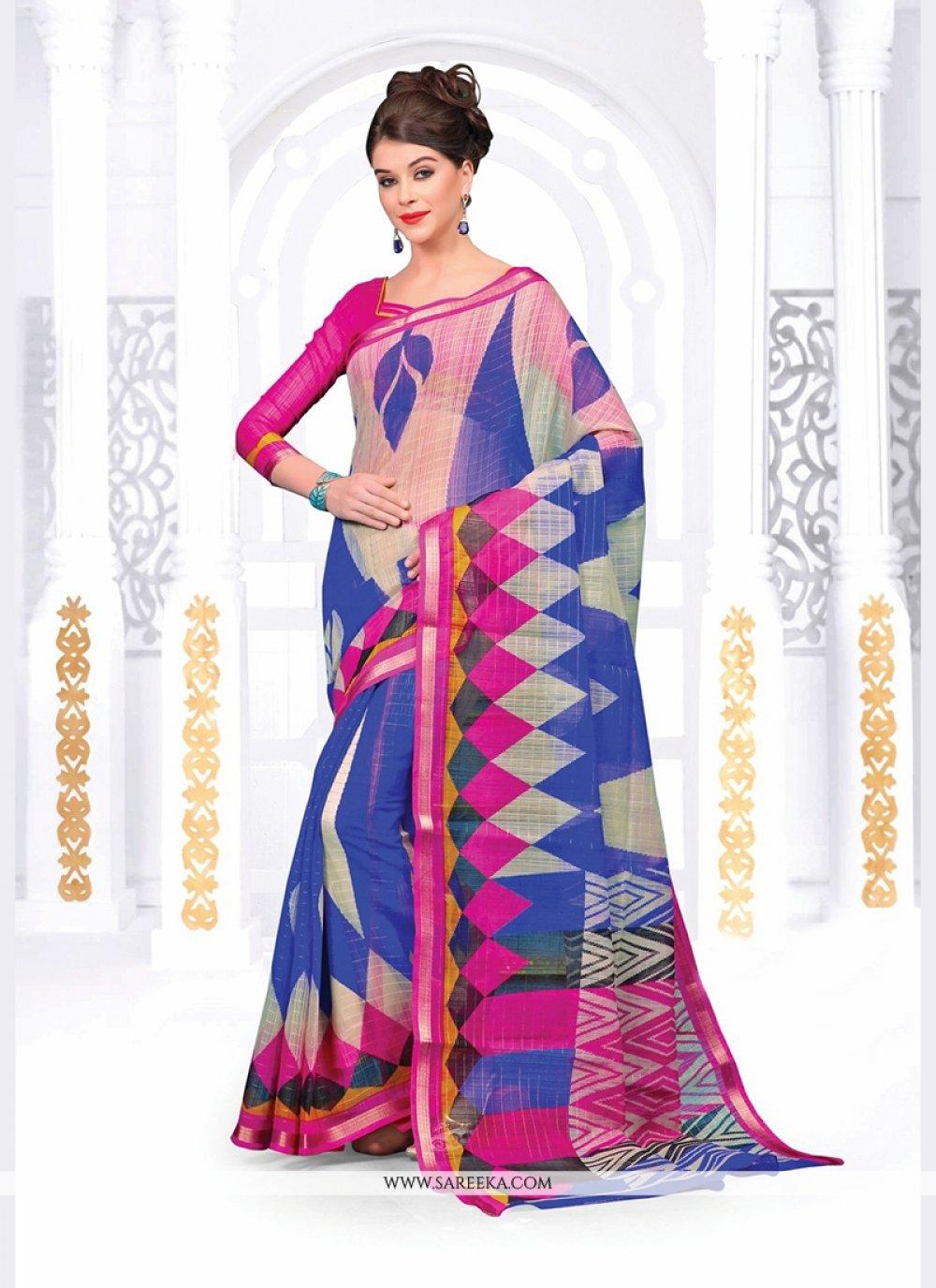 Silk Multi Colour Print Work Casual Saree