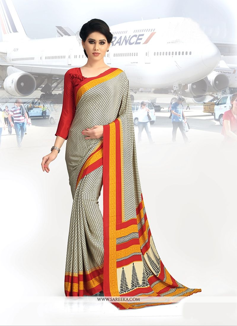 Faux Crepe Beige Casual Saree