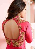 Hot Pink Silk Designer Floor Length Suit