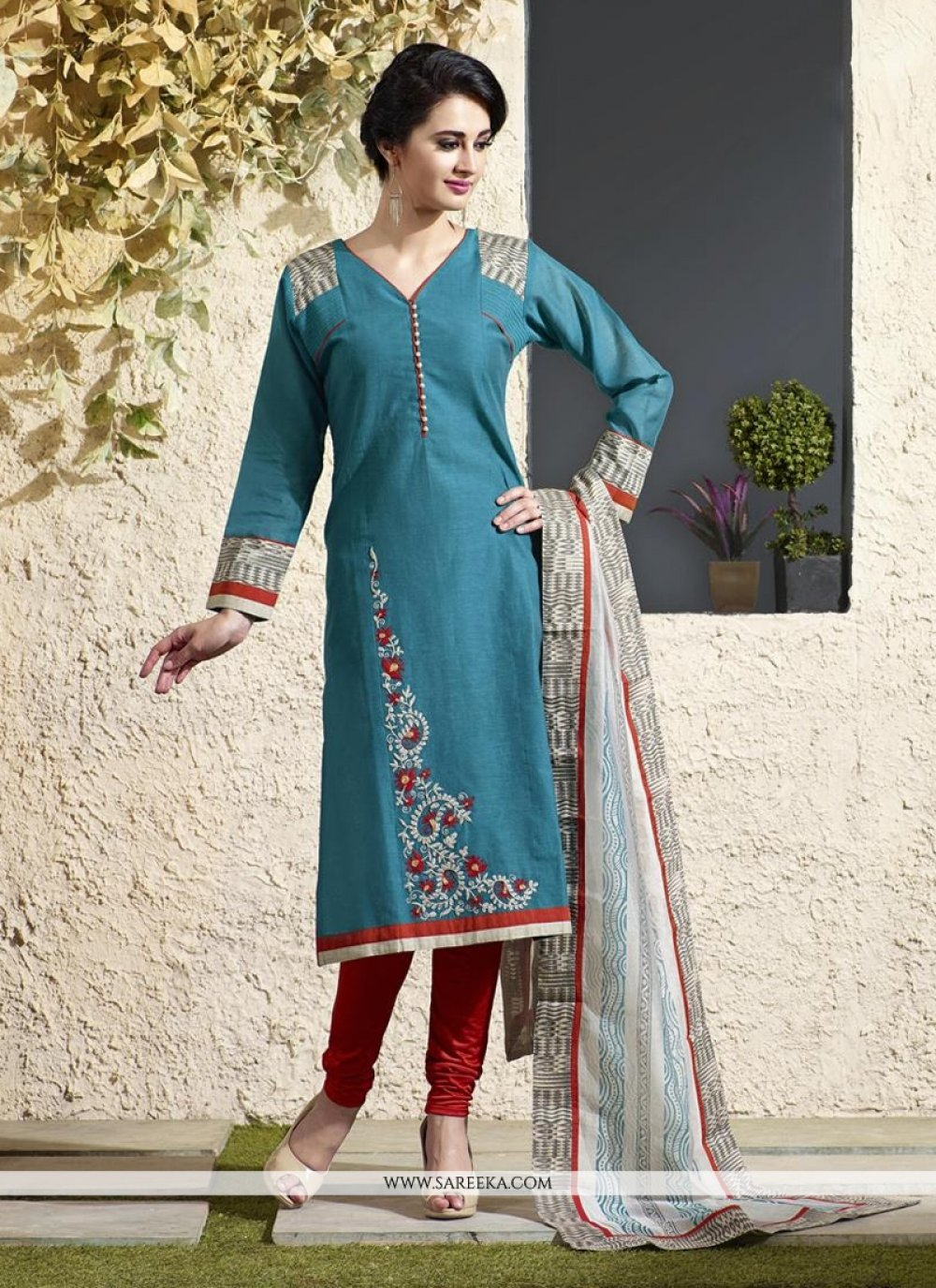 Lace Work Blue Readymade Suit