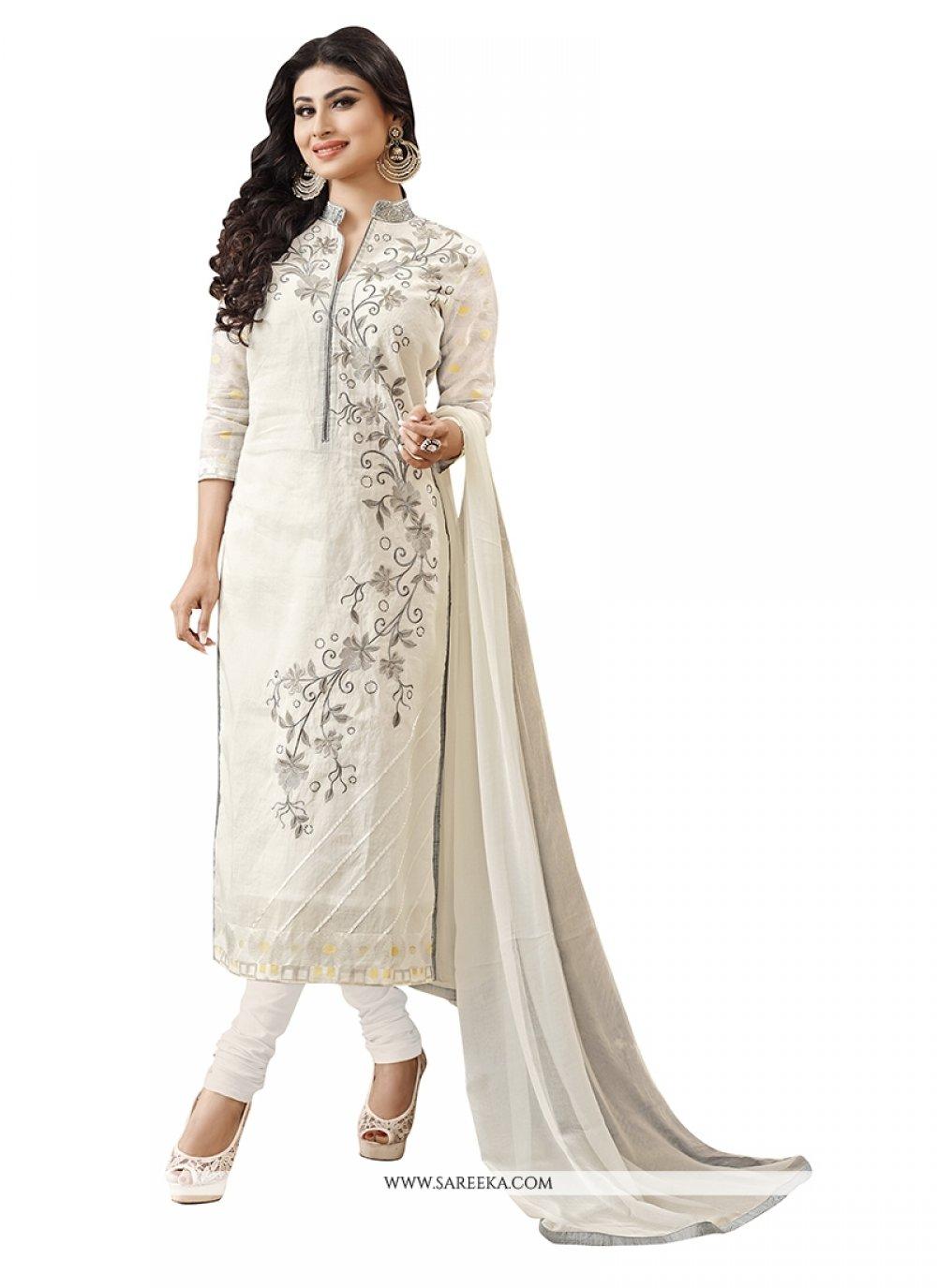 Embroidered Work Off White Churidar Designer Suit