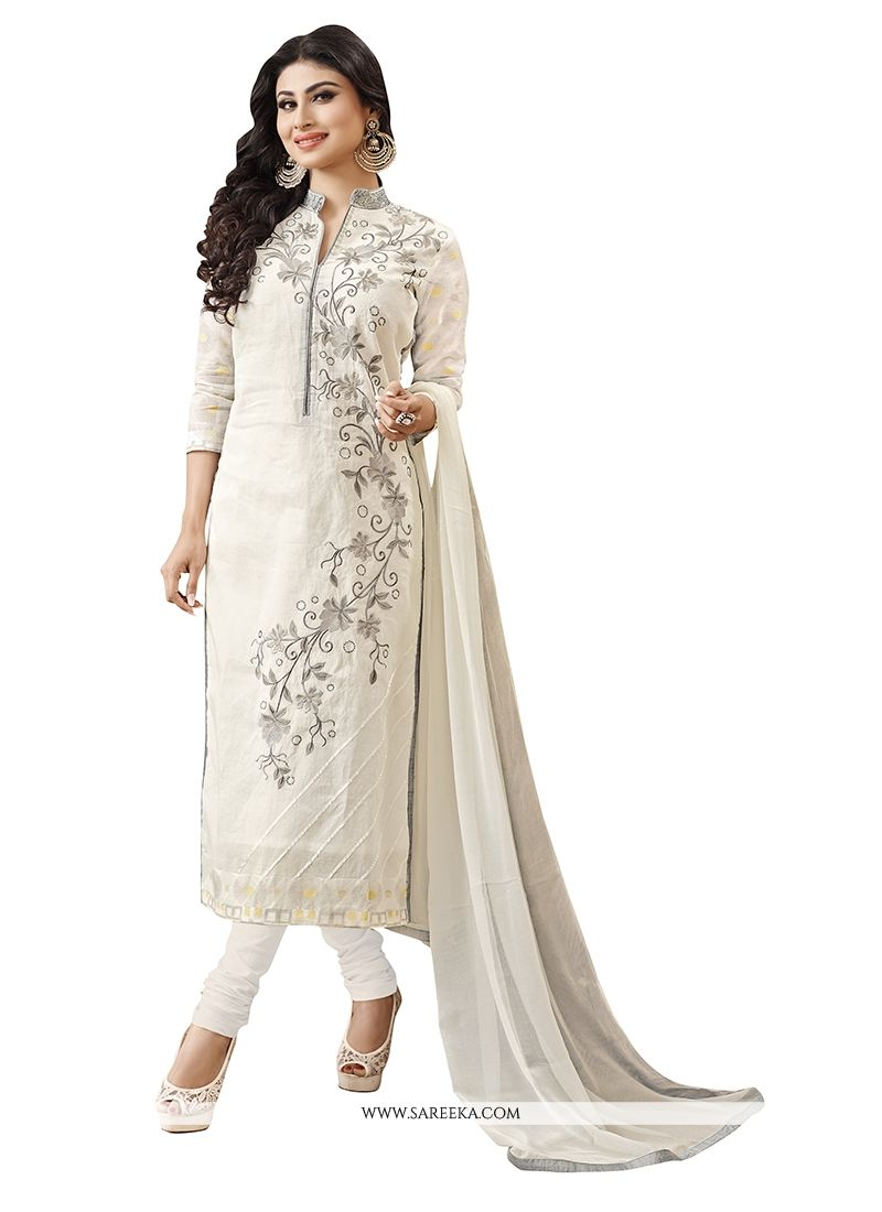 Embroidered Work Off White Churidar Designer Suit