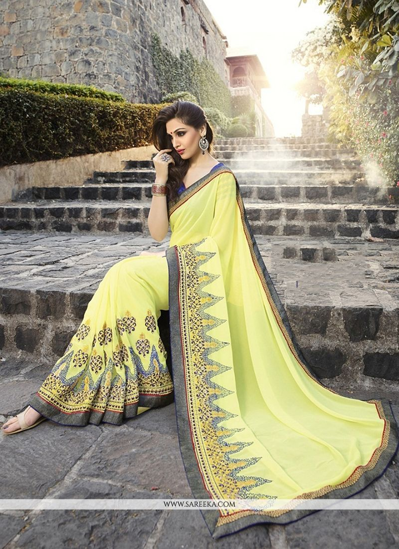 Georgette Patch Border Work Classic Designer Saree