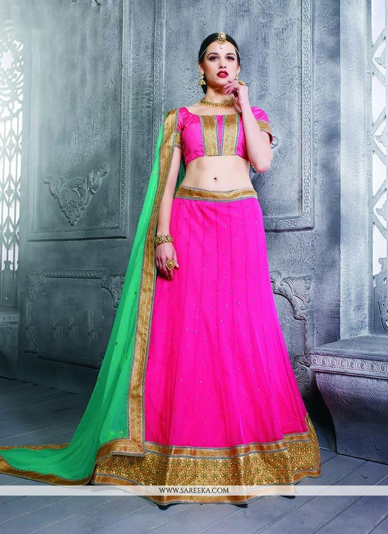Net Hot Pink Patch Border Work A Line Lehenga Choli
