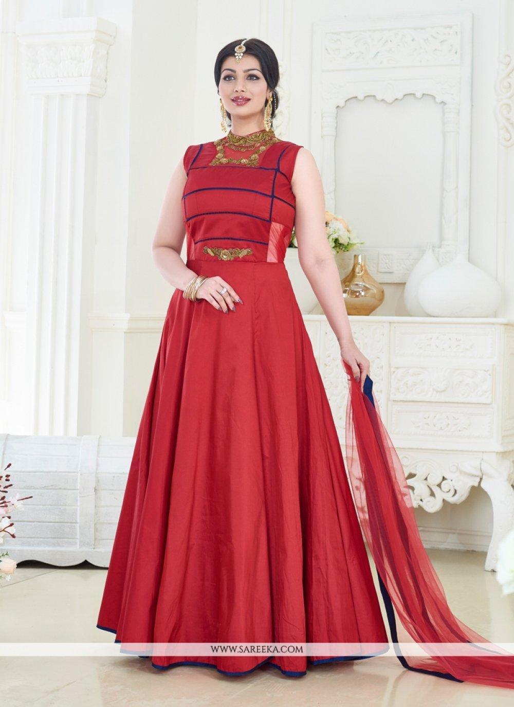 Ayesha Takia Resham Work Silk Designer Floor Length Salwar Suit