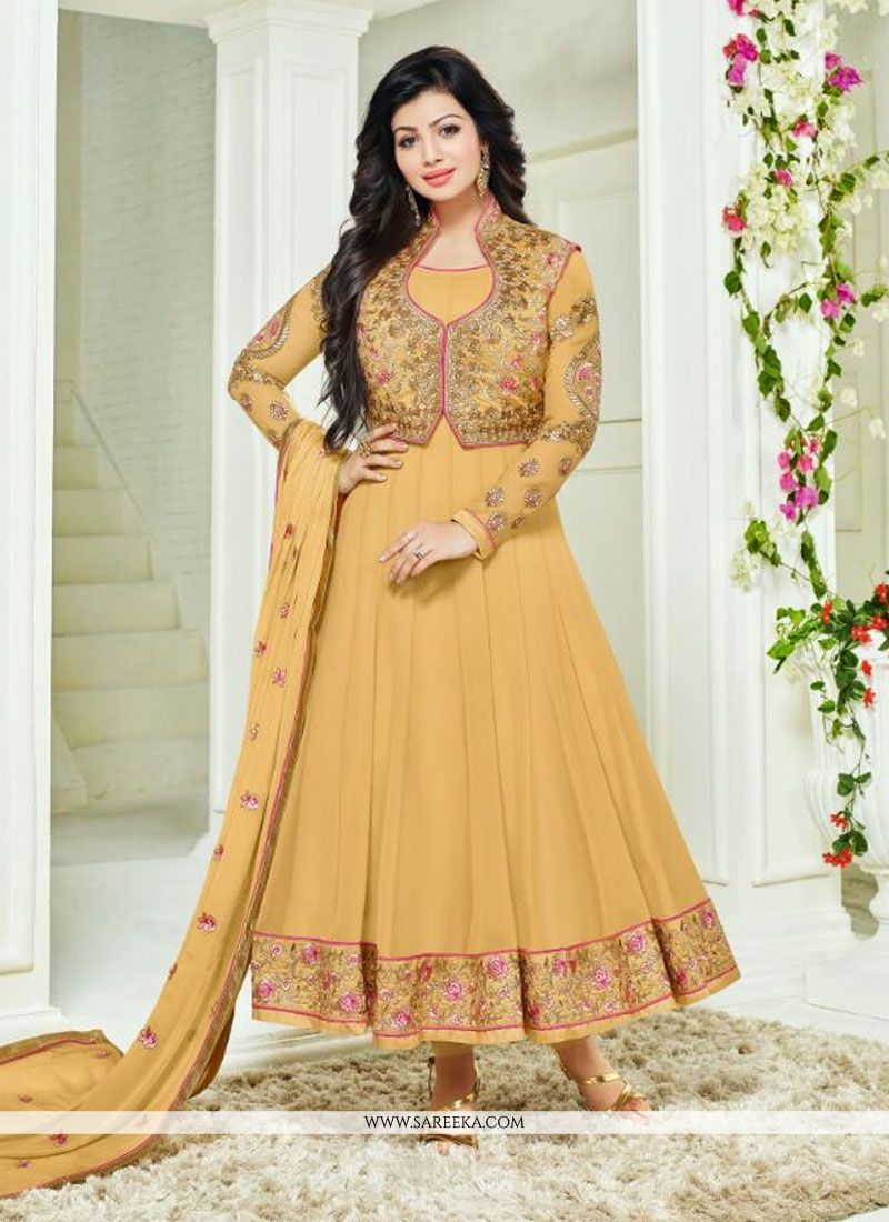 c791c39586 Buy Ayesha Takia Yellow Embroidered Work Anarkali Salwar Kameez Online :  Switzerland -