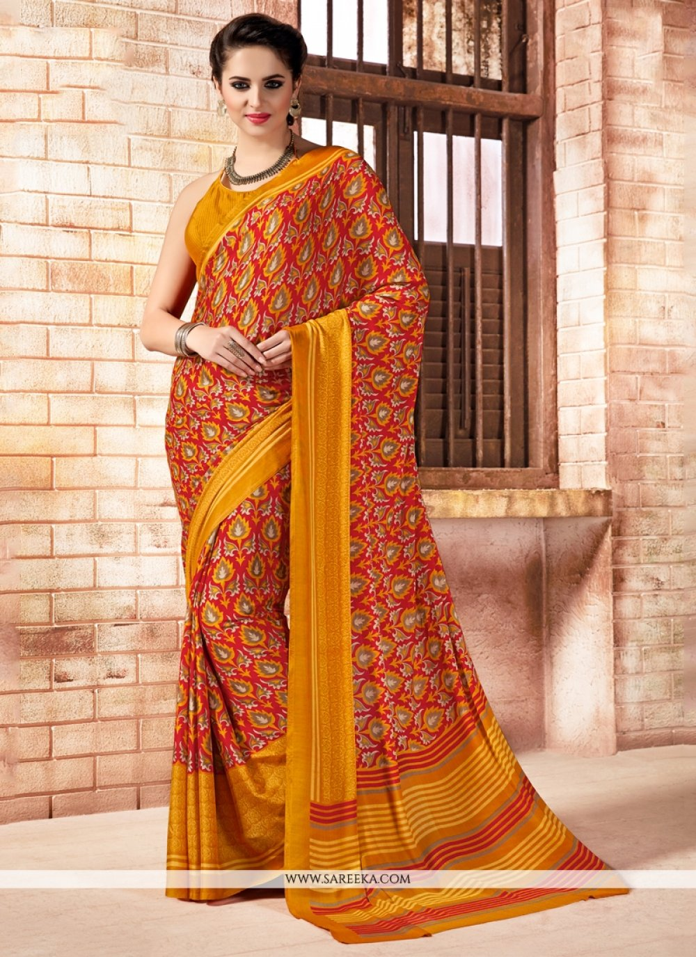 Faux Crepe Print Work Casual Saree