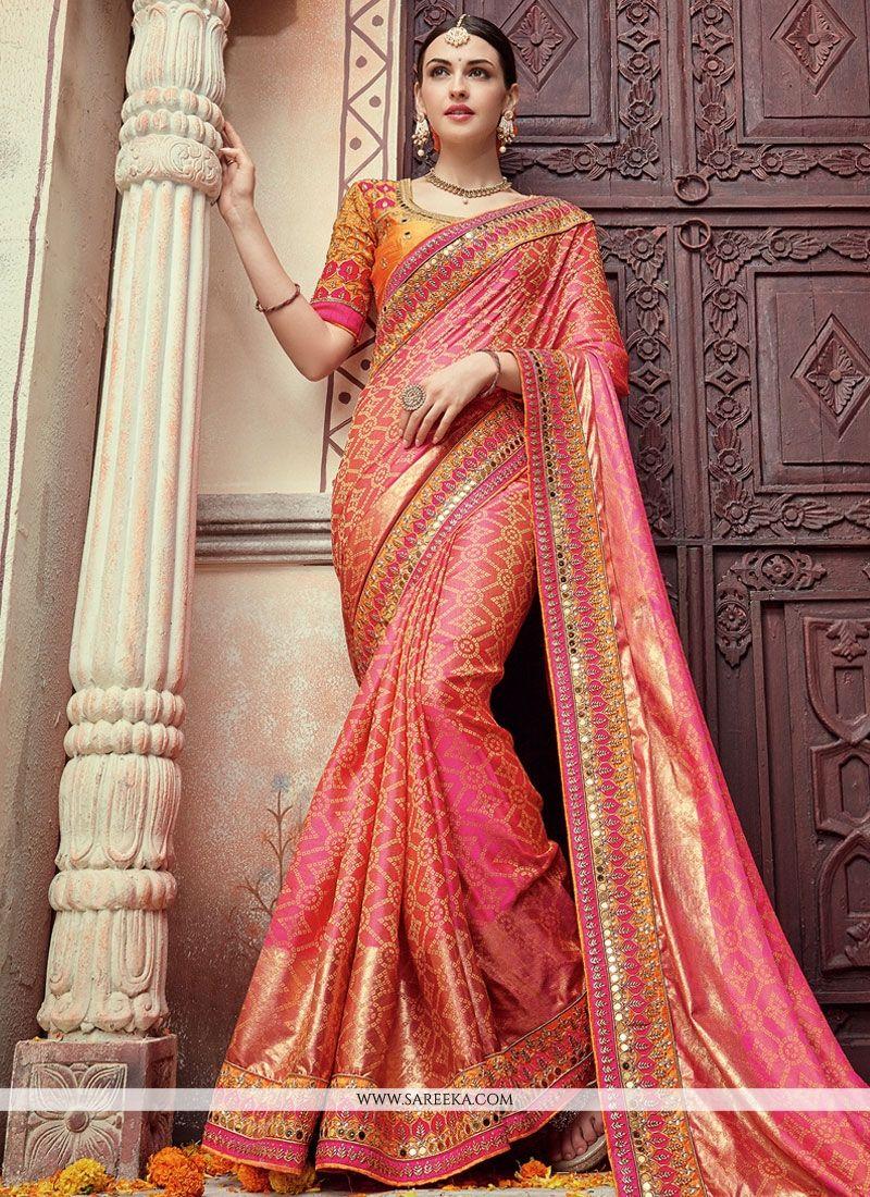 Buy Georgette Pink Designer Bridal Sarees Online : Malaysia -