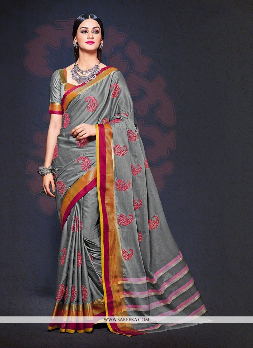 Grey Designer Saree
