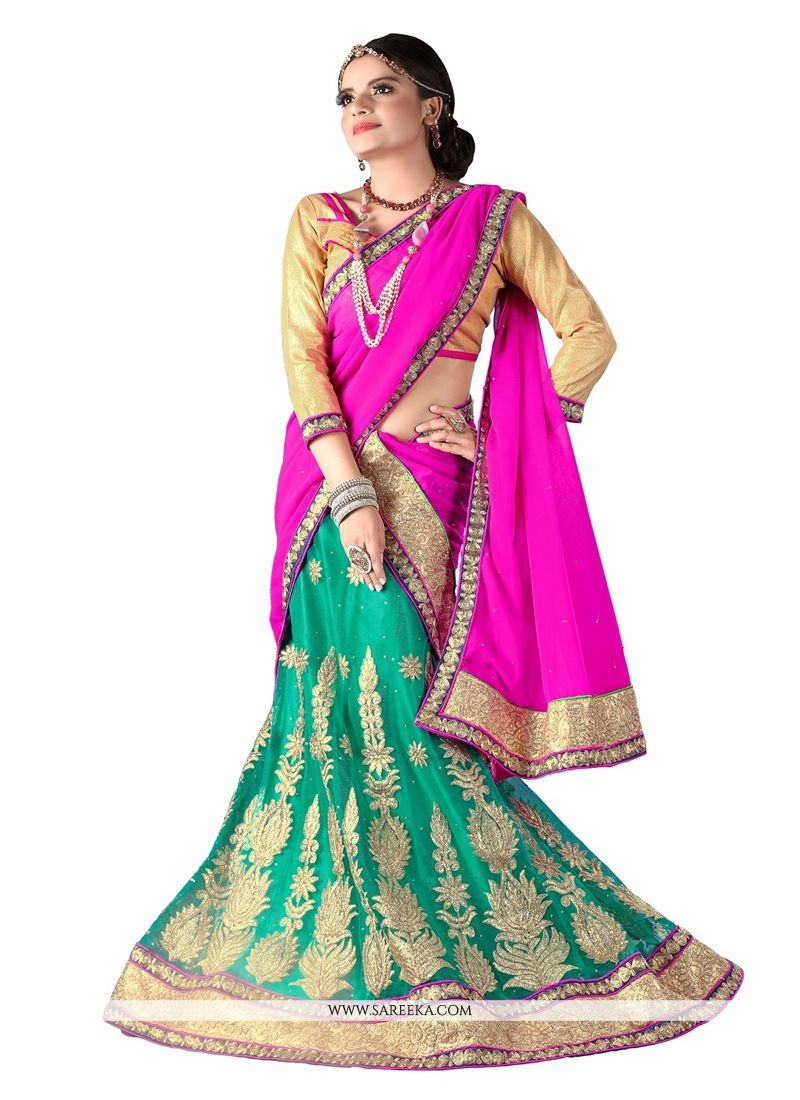Net Sea Green Embroidered Work A Line Lehenga Choli
