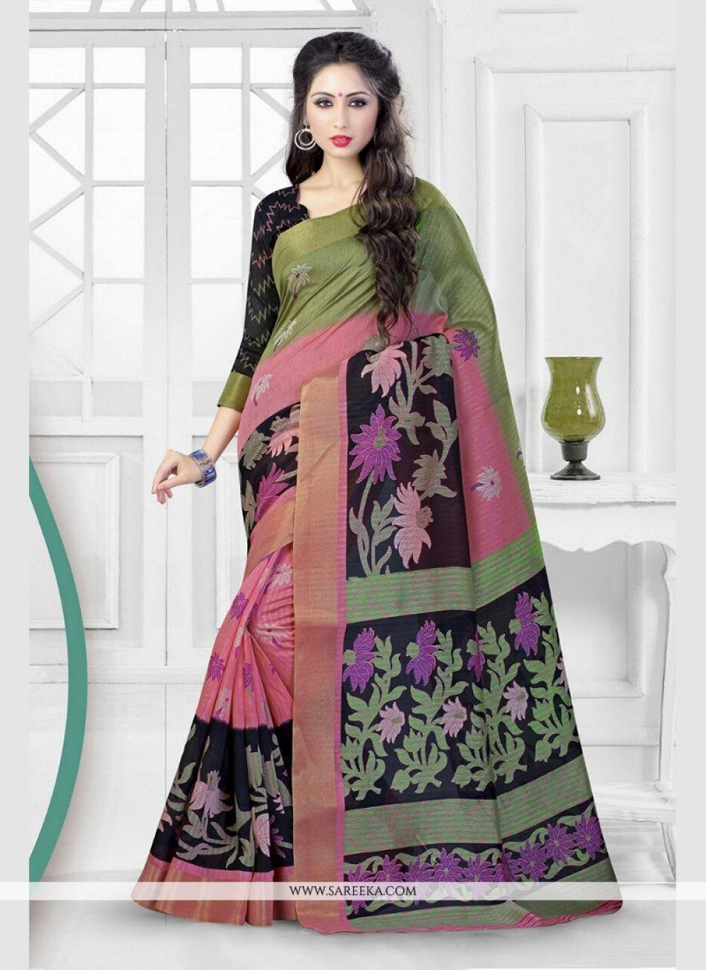 Patch Border Work Silk Printed Saree
