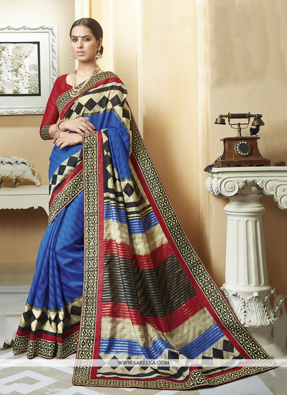 Silk Multi Colour Printed Saree