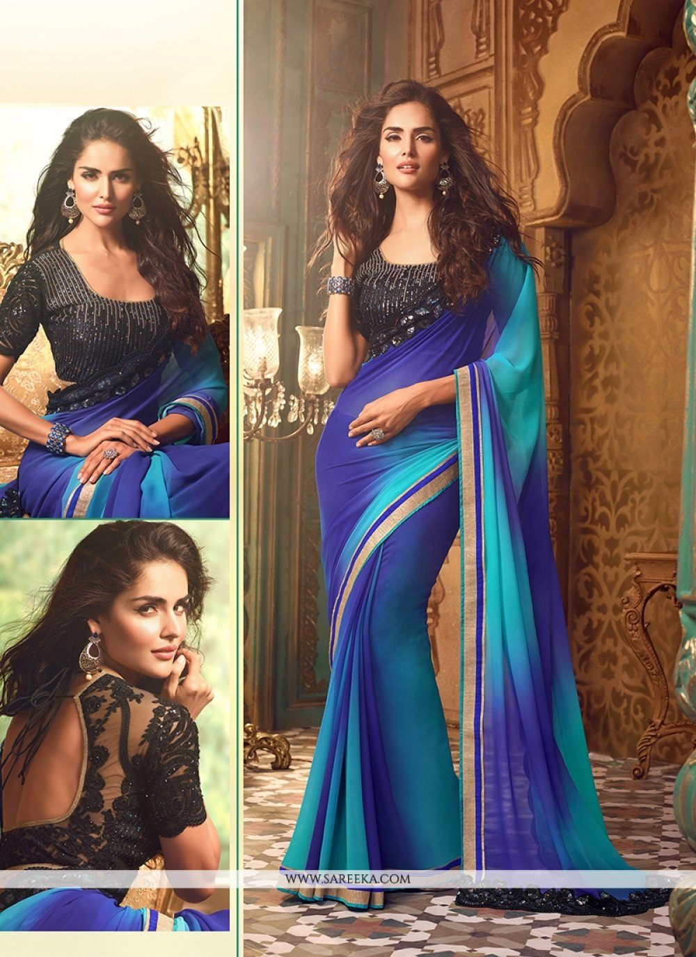 Georgette Blue Designer Traditional Sarees