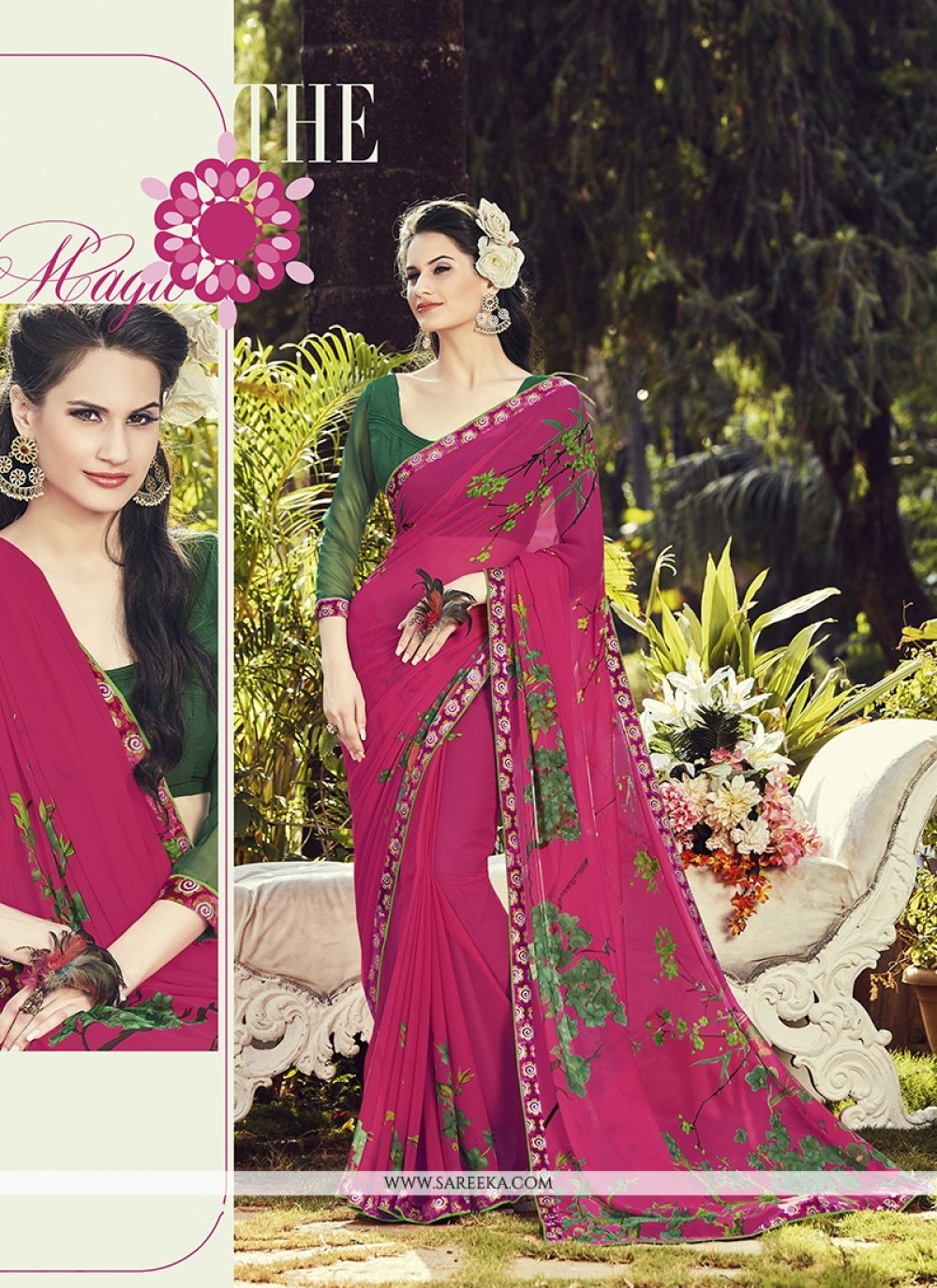 Print Work Magenta Casual Saree