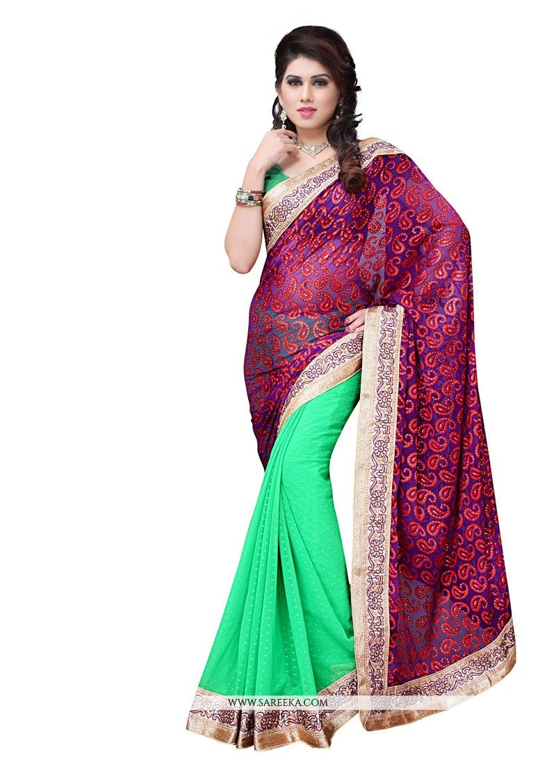 Sea Green Patch Border Work Brasso Designer Saree
