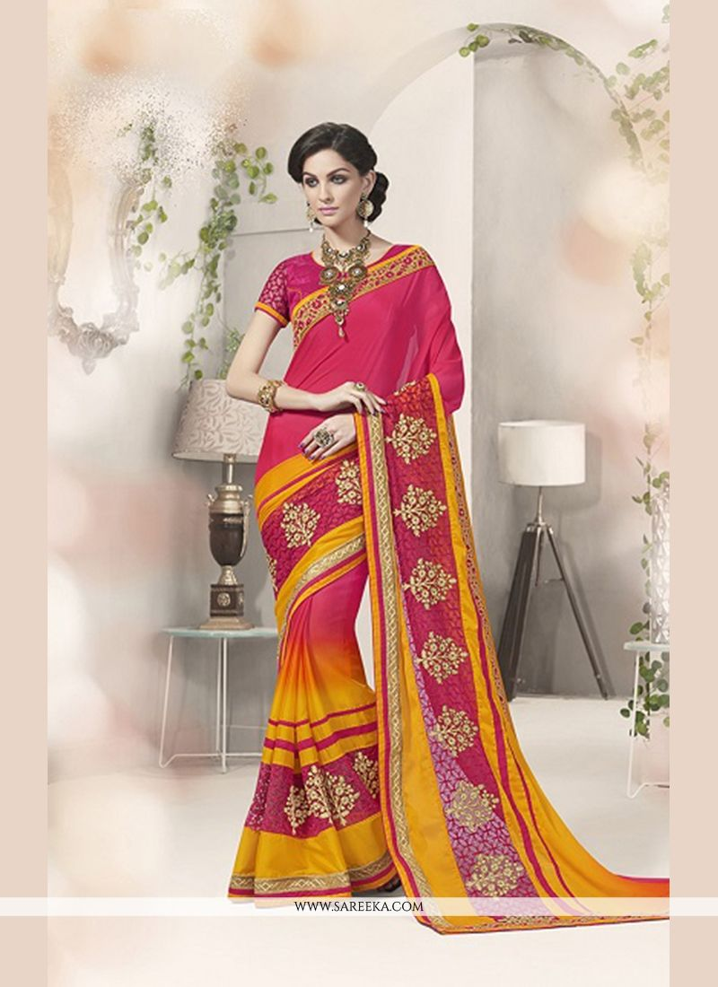Silk Pink and Yellow Designer Saree